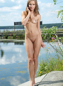 Conny getting naked outside