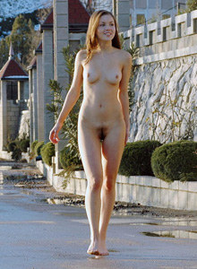 Hairy pussy girl walking nude on sovjet street in simeiz