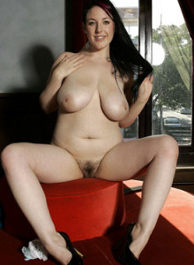 Hairy pussy Angie with huge boobs at the bar