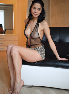 Puffy nipples brunette in sexy see-through lingerie