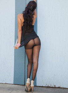 Exciting perfect latin Luna Castro wearing pantyhose and jeans shorts