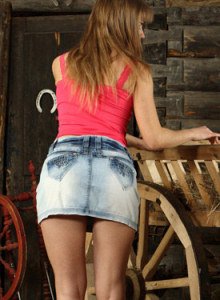 Beautiful girl in red top and denim skirt has perfect body with hairy slut and puffy nipples