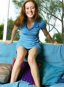 Beautiful teen Annabel in tiny blue dress