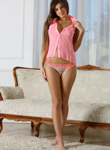 Exciting young babe in sexy white panties