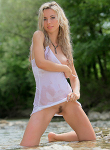 Green rivulet and beautiful hairy pussy blonde in wet white t-shirt and nude