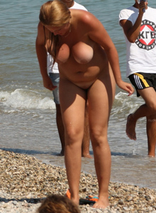 Nude girls at the beach