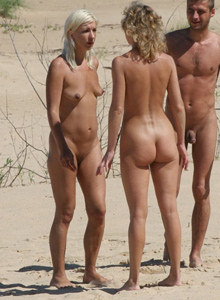 Nudists camp at the beach