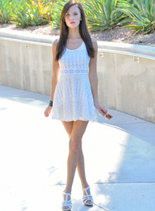 Public nudity and flashing of exciting Jayden in white summer dress with erected nipples