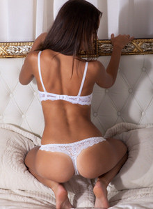 Puffy nipples beauty in grey sexy dress and white lace sexy underwear on top of her exciting fresh young body