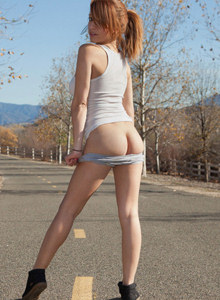 Sexy Madison Luvv is outside in tight sports shorts