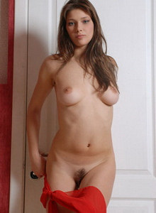 Young girl has big boobs and hairy pussy